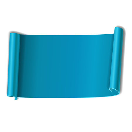 Blue scroll isolated on white background. Light paper roll banner 3D. Ribbon design for Christmas frame, New Year decoration, curved retro border. Smooth realistic texture Vector illustration Illustration