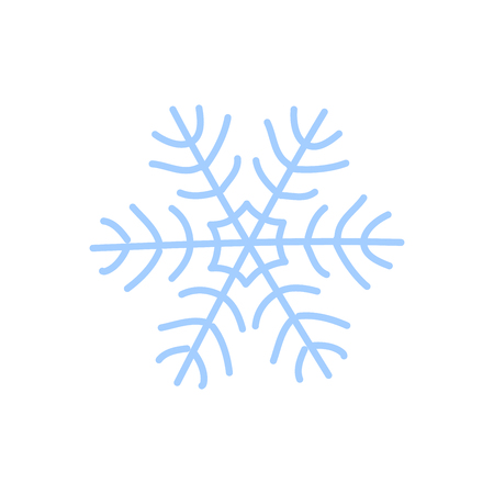Snowflake icon. Blue silhouette snow flake sign, isolated on white background. Flat design. Symbol of winter, frozen, Christmas, New Year holiday. Graphic element decoration Vector illustration Illustration