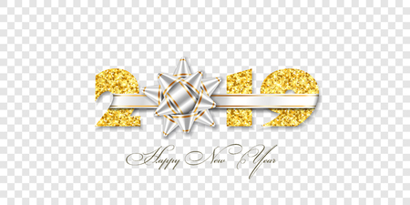 Happy New year card. 3D gift red ribbon bow, gold number 2019 isolated white transparent background. Golden texture Christmas glitter design. Holiday celebration, decoration Vector illustration Illustration