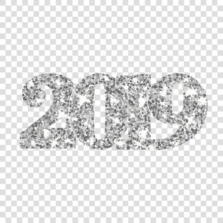 Happy New Year silver number 2019. Silvery glitter digits isolated white transparent background. Shiny glowing design. Light sparkle Christmas celebration, greeting card, holiday Vector illustration