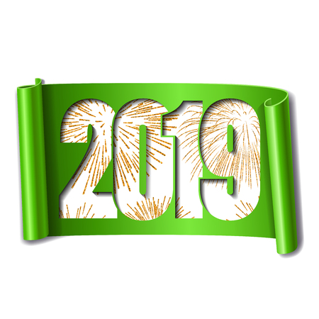 Happy new year card. White number 2019, gold firework. 3D scroll isolated white background. Green ribbon handscroll. Curved frame ribbon border Design decoration. Christmas banner Vector illustration Illustration