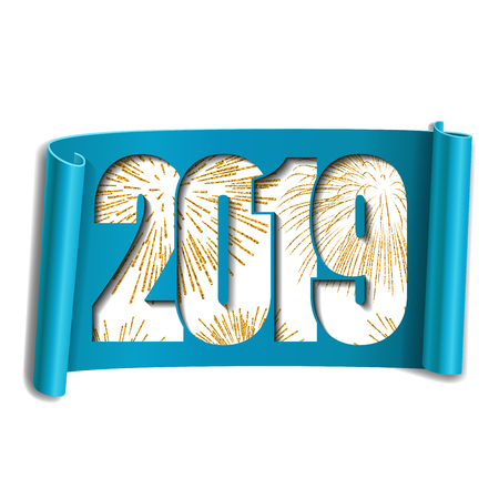 Happy new year card. White number 2019, gold firework. Scroll 3D isolated white background. Blue ribbon handscroll. Curved frame ribbon border. Design decoration. Christmas banner Vector illustration