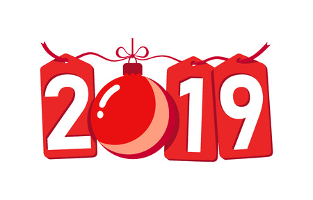 Happe New Year background. Isolated 2019 red numbers, bauble. Flat Christmas ball. Design for celebration card, holiday greeting, calendar, banner. Typography graphic Vector illustration Illustration