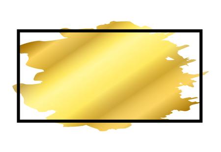 Gold brush in black rectangle frame isolated white background. Border golden grunge ink. Luxury smooth design banner, Happy New Year card, Christmas template. Splash stroke stain Vector illustration