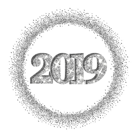 Happy New Year silver number 2019, circle frame. Silvery glitter border isolated on white background. Shiny pattern. Light sparkle design Christmas celebration, greeting card Vector illustration Illustration