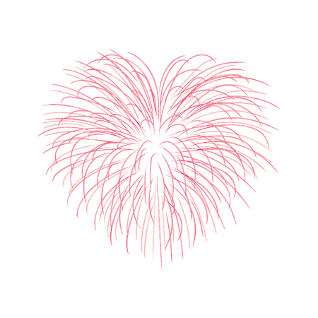 Beautiful heart-firework. Bright romantic salute, isolated on white background. Love decoration flat firework for Valentine Day celebration. Symbol of holiday, wedding Vector illustration