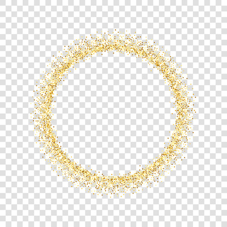 Gold circle glitter frame. Golden confetti dots round, white transparent background. Bright texture pattern for Christmas celebration party, New Year card border. Abstract design Vector illustration