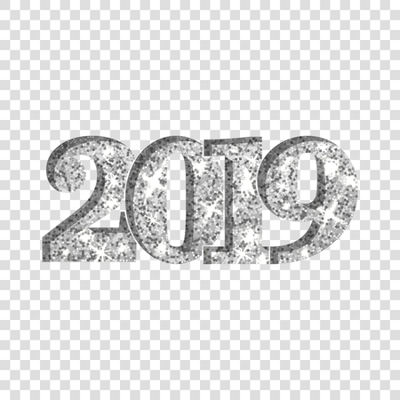 Happy New Year silver number 2019. Silvery glitter digits isolated white transparent background. Shiny glowing design. Light sparkle Christmas celebration, greeting card, holiday Vector illustration Illustration