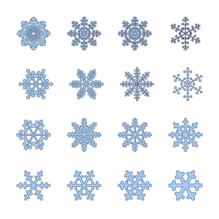 Snowflakes signs set. Blue Snowflake icons isolated on white background. Snow flake silhouettes. Symbol of snow, holiday, cold weather, frost. Winter design element Vector illustration