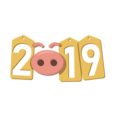 Happy New Year background. Pink pig, gold sale tags. Golden 2019 numbers. Piggy snout. Chinese design decoration, celebration card, Christmas discount. Cartoon piglet nose Vector Illustration