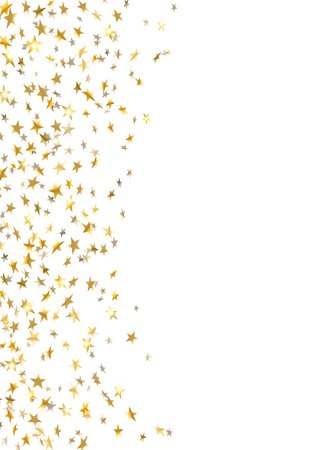 Gold star confetti celebration isolated on white background. Falling stars golden abstract pattern decoration. Glitter confetti Christmas card, New Year. Shiny sparkles Vector illustration Imagens - 127545449