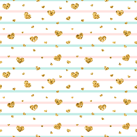 Gold heart seamless pattern. Pink-blue-white geometric stripes, golden confetti-hearts. Symbol of love, Valentine day holiday. Design wallpaper, background, fabric texture Vector illustration