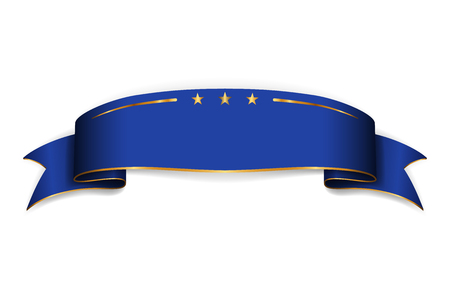 Blue ribbon banner. Satin blank. Design label scroll ribbon bow blank element isolated on white background. Empty banner template for greeting, advertising, decoration Vector illustration