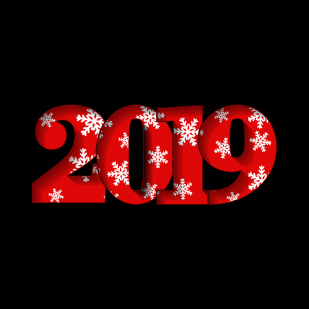 Happy new year card. Red 3D number 2019 with white snowflakes texture, isolated black background. Bright graphic design holiday celebration, greeting text, Christmas decoration Vector illustration  イラスト・ベクター素材
