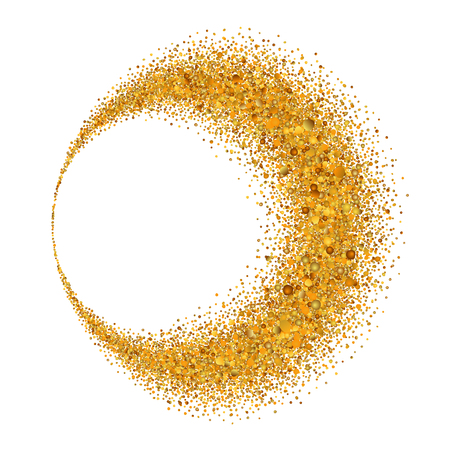 Gold circle. Light glitter effect. Golden ring, isolated white background. Ellipse magic element. Foil texture. Christmas shine decoration, round frame, New Year greeting design Vector illustration Illusztráció