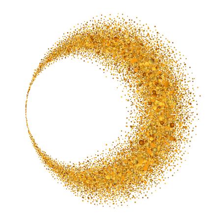 Gold circle. Light glitter effect. Golden ring, isolated white background. Ellipse magic element. Foil texture. Christmas shine decoration, round frame, New Year greeting design Vector illustration Illustration