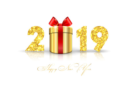 Happy New year card. 3D gift box, ribbon bow, gold number 2019 isolated white background. Golden texture Christmas glitter design. Holiday celebration, decoration, greeting banner Vector illustration