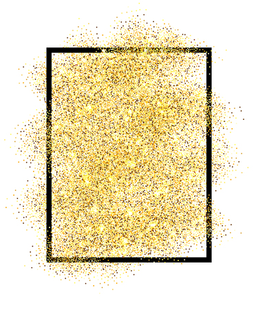 Gold glitter sand in black frame isolated white background. Golden texture confetti, sequins, dust spray. Bright pattern design New Year decoration, Christmas holiday celebration Vector illuetration