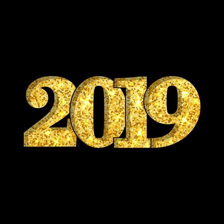 Happy New Year shiny gold number 2019. Golden glitter digits isolated on black background. Shiny glowing design, light sparkle for Christmas celebration, greeting card, poster Vector illustration