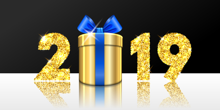 Happy New year card. 3D gift box, ribbon bow, gold number 2019 isolated white-black background. Golden texture Christmas glitter design. Holiday celebration, decoration, greeting Vector illustration