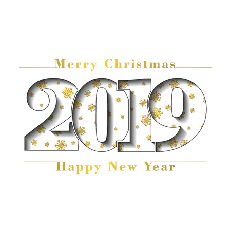 Happy new year Merry Christmas gold card. Number 2019, gold snowflake texture, isolated white background. Bright design holiday celebration, greeting, Christmas banner decoration Vector illustration
