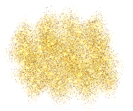 Gold glitter sand frame isolated on white background. Golden texture confetti, sequins, dust spray. Bright pattern design for New Year decoration, Christmas holiday celebration Vector illustration Vetores