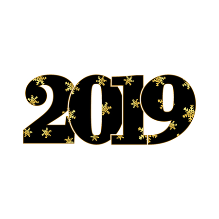 Happy new year card. Black number 2019, gold snowflake texture, isolated white background. Bright graphic design holiday celebration, greeting, Christmas banner decoration Vector illustration