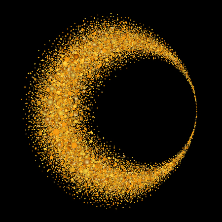 Gold circle. Light glitter effect. Golden ring, isolated black background. Ellipse magic element. Foil texture. Christmas shine decoration, round frame, New Year greeting design Vector illustration