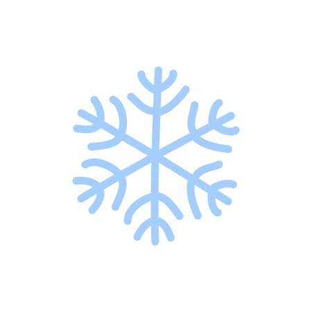 Snowflake icon. Blue silhouette snow flake sign, isolated on white background. Flat design. Symbol of winter, frozen, Christmas, New Year holiday. Graphic element decoration Vector illustration