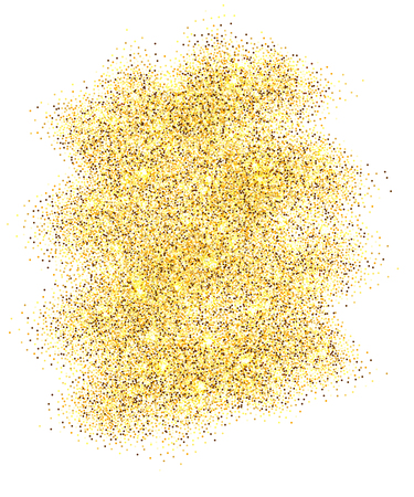 Gold glitter sand frame isolated on white background. Golden texture confetti, sequins, dust spray. Bright pattern design for New Year decoration, Christmas holiday celebration Vector illustration