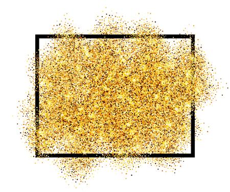 Arena de oro brillo en fondo blanco aislado marco negro. Confeti de textura dorada, lentejuelas, spray de polvo. Diseño de patrón brillante Decoración de año nuevo, celebración navideña Ilustración vectorial