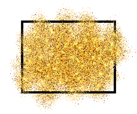 Gold glitter sand in black frame isolated white background. Golden texture confetti, sequins, dust spray. Bright pattern design New Year decoration, Christmas holiday celebration Vector illustration