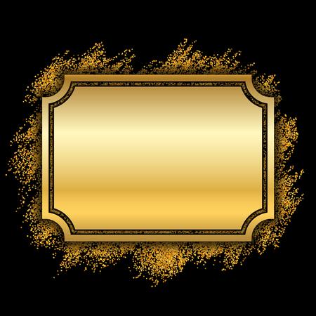 Montatura in oro. Bellissimo design glitter dorato. Bordo decorativo in stile vintage, sfondo nero isolato. Quadro di lusso elegante Deco per la decorazione, foto, banner di Natale Illustrazione vettoriale