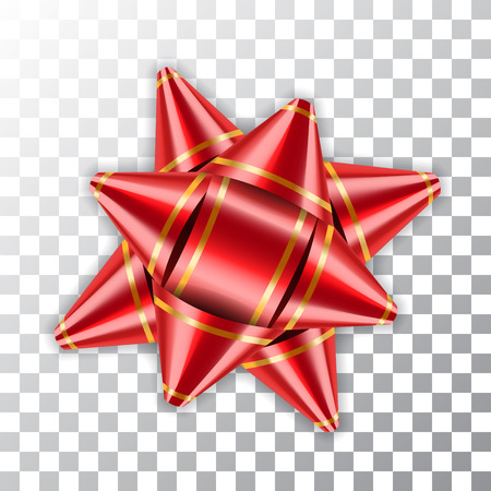 Red Bow Ribbon 3d Dekor Elementpaket Glänzende Farbe Satin Dekoration Geschenk vorhanden isoliert weißen transparenten Hintergrund. Weihnachts-Neujahrsfeier, Geburtstagsfeiertagdesign-Vektorillustration