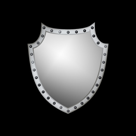 Silver shield shape icon. 3D gray emblem sign isolated on black background. Symbol of security, power, protection. Badge shape shield graphic design Vector illustration