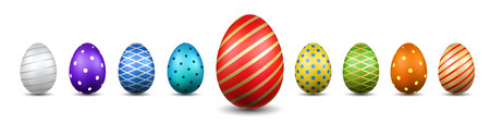 Easter egg 3D icons. Color eggs set isolated white background. Geometric design texture. Decoration Happy Easter celebration. Holiday elements pattern collection. Spring symbol Vector illustration Illustration