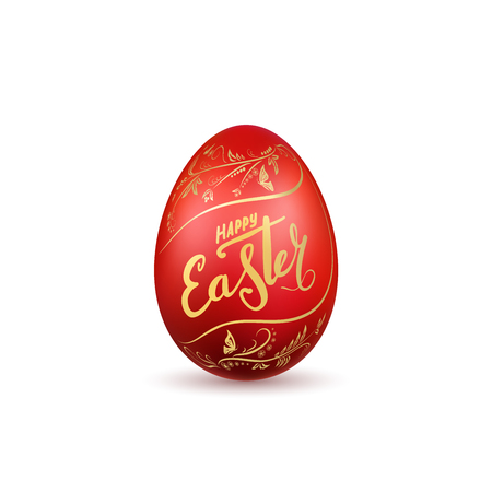 Easter egg 3D icon. Red egg, gold lettering, isolated white background. Floral design. Hand drawn flower decoration for Happy Easter. Text element. Holiday pattern. Spring symbol Vector illustration