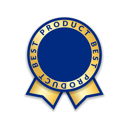 Ribbon award best product of year. Gold ribbon award icon isolated white background. Best product golden label for prize, badge, medal, guarantee quality product Vector illustration