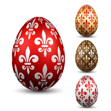 Easter egg 3D icon. Color eggs set, isolated white background. Flower fleur de lis design, decoration Happy Easter celebration. Royal lily element. Holiday pattern. Spring symbol Vector illustration