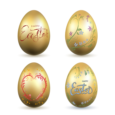 Easter egg 3D icon. Gold eggs set, lettering, isolated white background. Shiny design. Hand drawn decoration Happy Easter celebration. Text element. Holiday pattern. Spring symbol Vector illustration