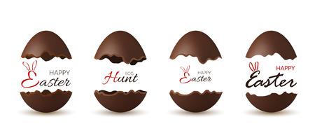 Pasen gebroken ei 3d. Chocolade bruine open eieren instellen geïsoleerde witte achtergrond. Traditioneel zoet snoepdessert, decoratie Gelukkig paasfeest. Ontwerpelement voorjaarsvakantie Vectorillustratie