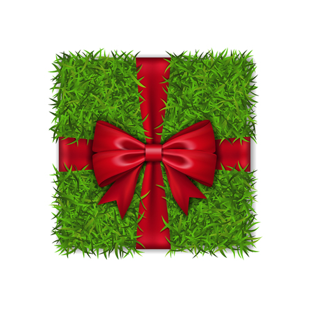 Gift box 3D. Green grass box top view, red ribbon bow, isolated white background. Nature friendly design. Eco packaging. Concept recycle. Organic lawn, meadow. Holiday decoration Vector illustration