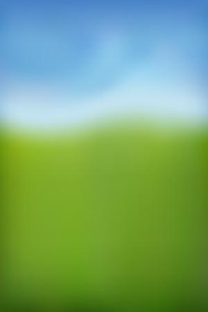 Summer background. Green fresh grass, blue sunny sky blur design. Abstract summer, spring nature. Beauty garden, park, meadow field landscape. Beautiful natural sunlight pattern Vector illustration