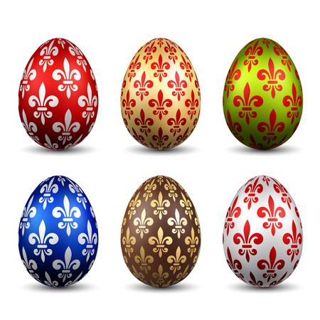 Easter egg 3D icon. Color eggs set, isolated white background. Flower fleur de lis design, decoration Happy Easter celebration. Royal lily element. Holiday pattern. Spring symbol Vector illustration Stock Vector - 117387330