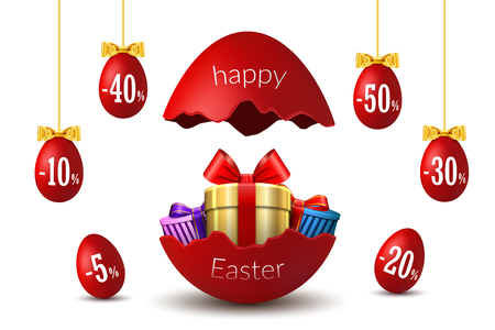 Easter eggs sale. Broken Happy Easter egg 3D template isolated on white background. Design banner, greeting, promotion, holiday decoration, special offer discount. Gold gift box Vector illustration Çizim