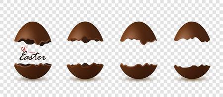 Pasen gebroken ei 3d, tekst. Chocolade bruine open eieren set, geïsoleerde witte transparante achtergrond. Traditioneel dessert, decoratie Gelukkig paasfeest. Ontwerpelement vakantie Vectorillustratie