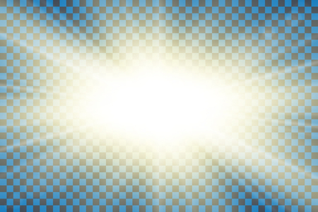 Sun rays. Starburst bright effect, isolated on transparent background. Gold light star flash. Abstract shine beams. Vibrant magic sparkle explosion. Glowing burst, lens effect Vector illustration