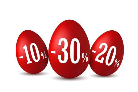 Easter egg sale. Happy Easter eggs 3D template isolated on white background. 10, 20, 30 percent off. Design banner, poster, promotion decoration, special offer. Label tag discount Vector illustration
