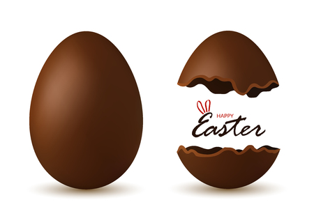 Easter egg 3d. Chocolate brown whole and broken eggs set isolated white background. Traditional sweet candy decoration text Happy Easter celebration. Design element spring holiday Vector illustration