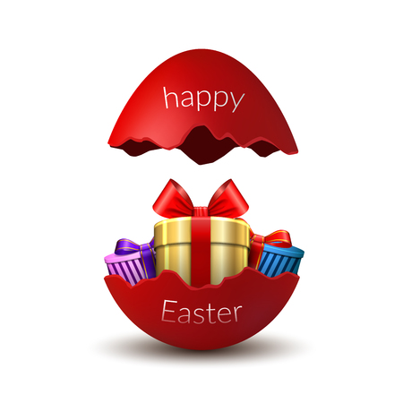 Gift box Happy Easter egg surprise. Broken red Easter 3D egg, isolated on white background. Decoration template card, holiday celebration. Realistic gold present, bright ribbon Vector illustration Çizim